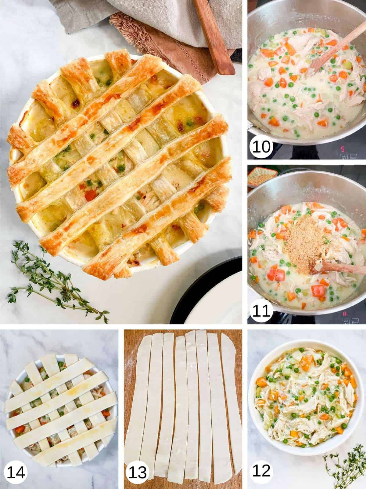 Collage of photos showing the making of a latticed chicken pot pie.