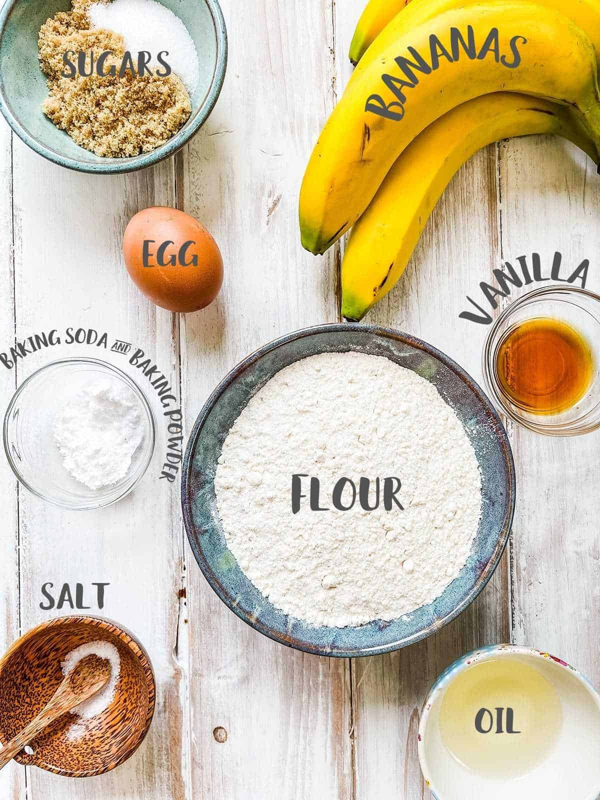 Ingredients for making Banana Bread on a white table with titles.