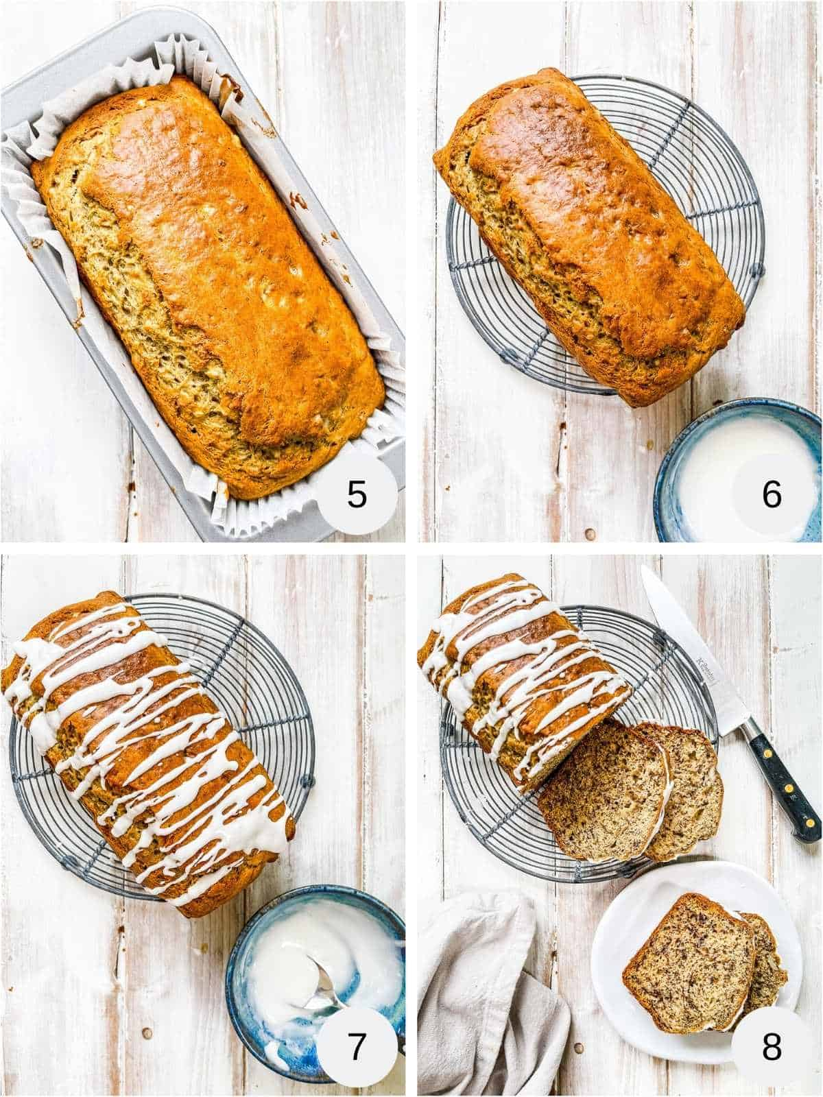 Collage of photos of icing a banana bread.