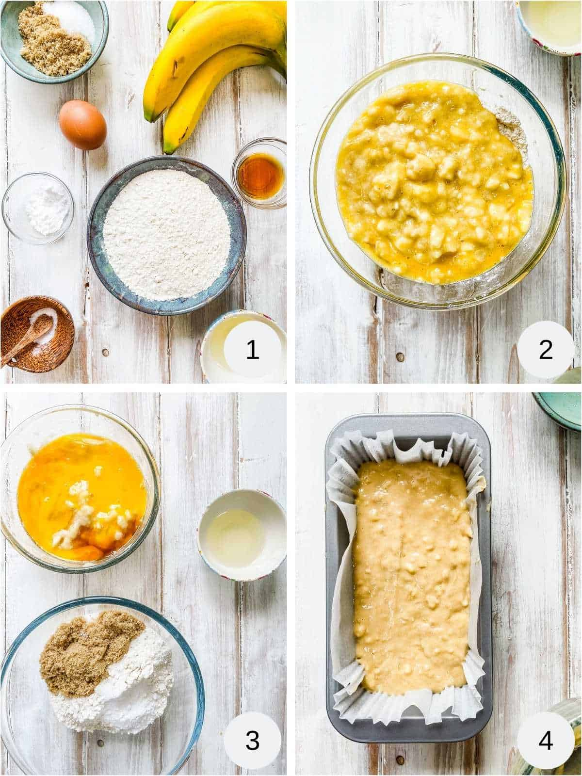 A collage of photographs of making banana bread.
