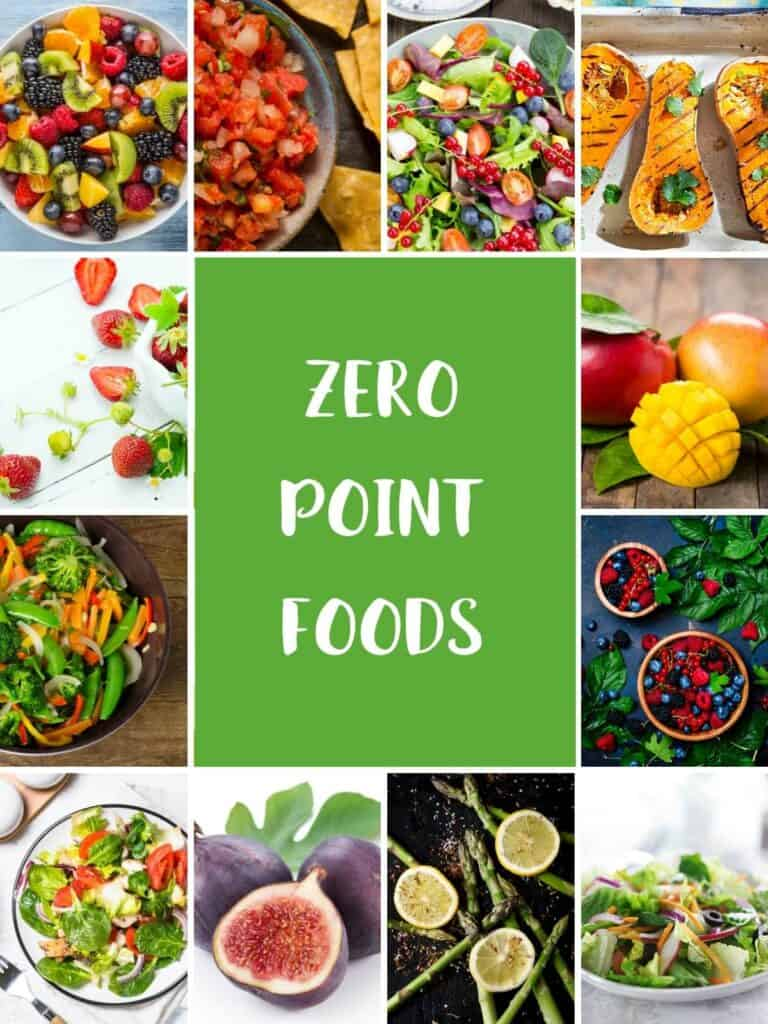 A collage of 12 photos of foods that are zero smartpoints on the WW Green plan.