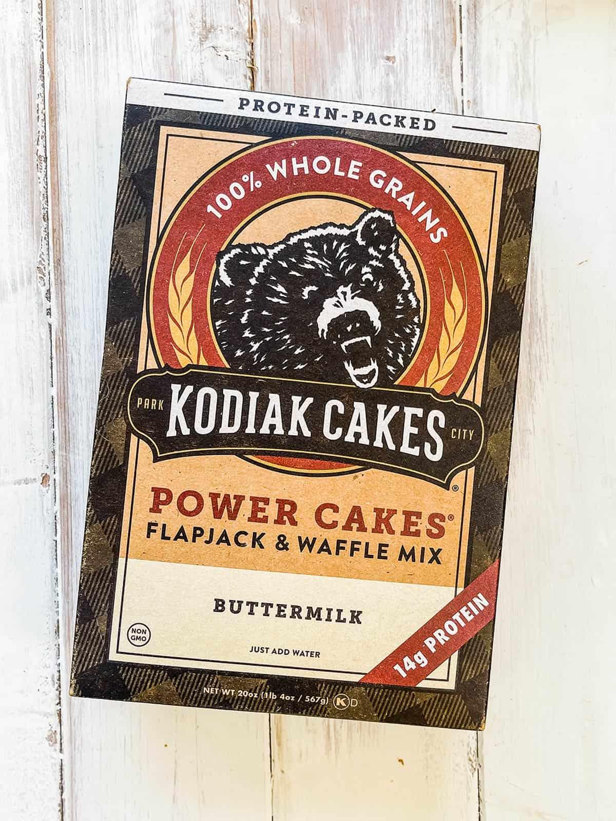 A box of Kodiak Cakes Flapjack and waffle mix.