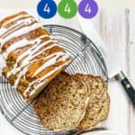 Sliced Banana Bread on a wire rack with text overlay stating Weight Watchers easy banana bread.