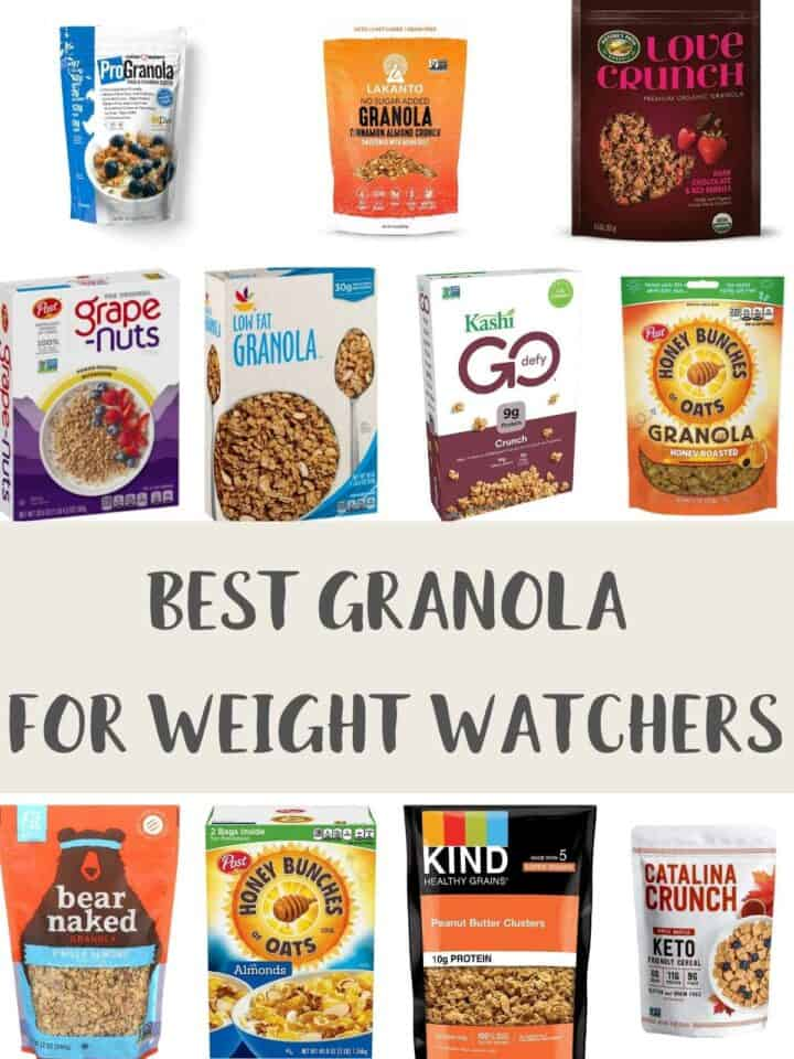 A collage of pictures of granola packages with text overlay stating Best Granola for Weight Watchers.