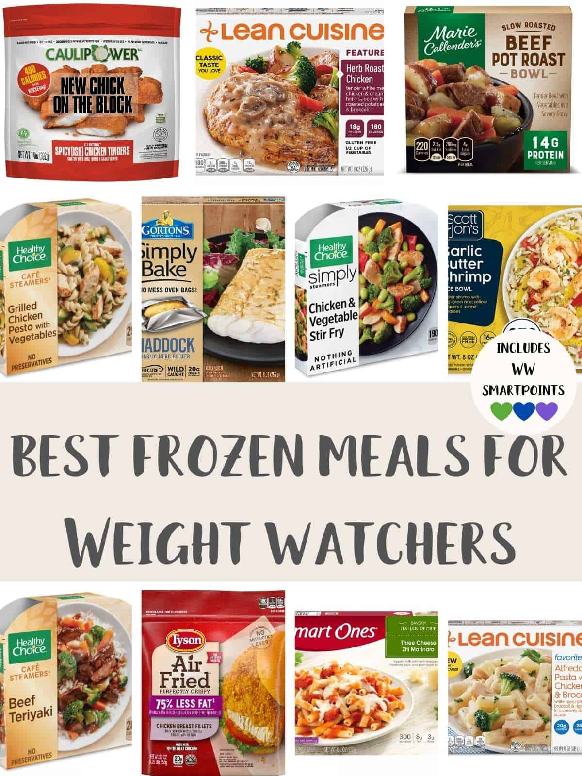A collage of photos of frozen meals with text overlay stating best frozen meals for Weight Watchers.