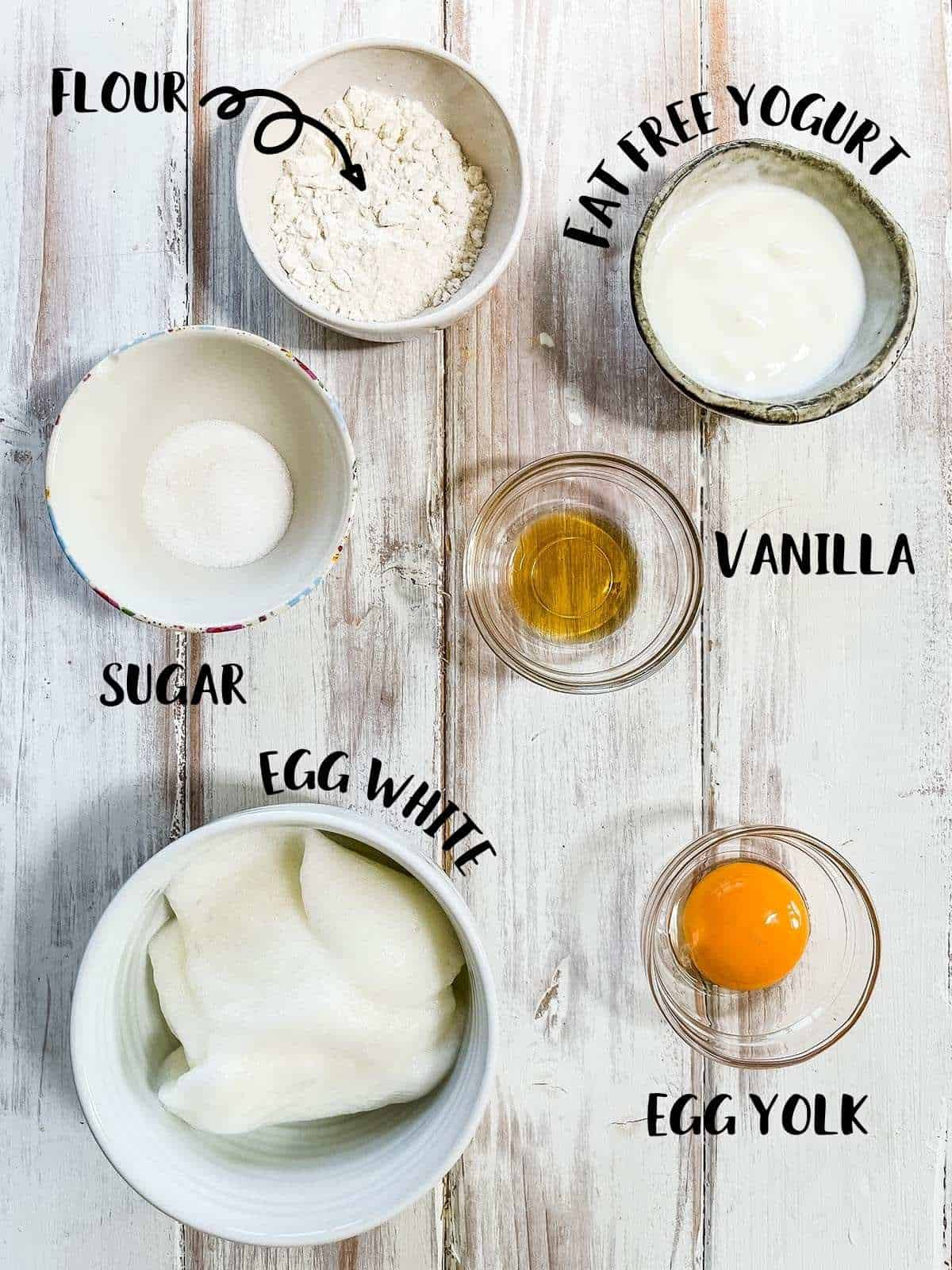 Dishes of the ingredients needed to make pancakes with labels.