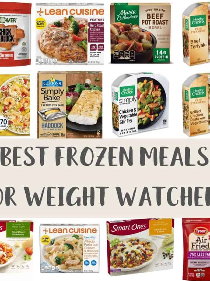 A collage of photos showing some of the best store brought frozen meals for Weight Watchers