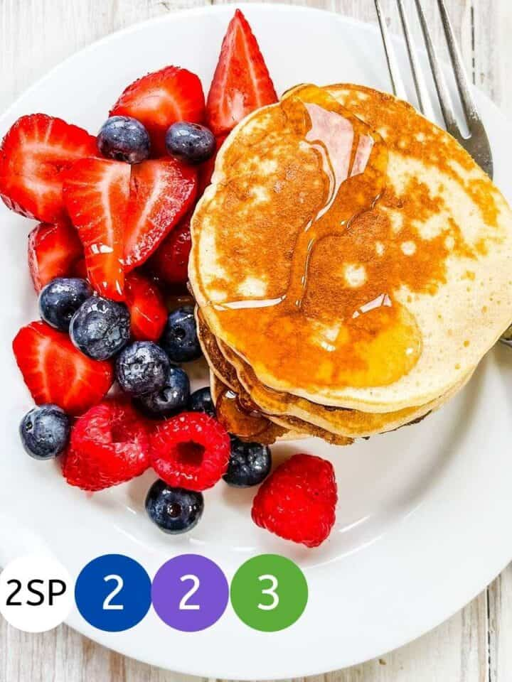 A white plate of pancakes and berries with coloured markers signifying WW SmartPoints.