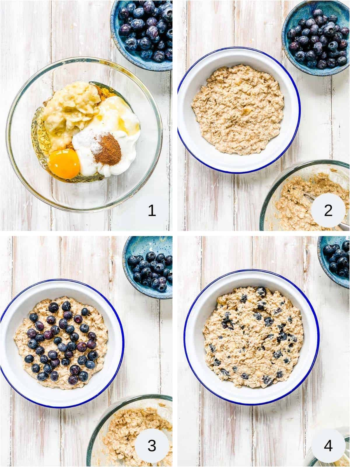 4 photos depicting the process of making baked oatmeal.